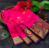 Pink color soft lichi silk saree with rich pallu
