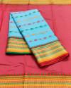 Firoji color drape kota doriya saree with jacquard border & thread butti