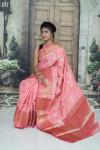 Pink color kanchipuram handloom weaving silk saree with zari woven work