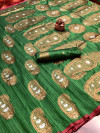 Green color soft banarasi silk saree with meenakari design & golden zari weaving work