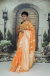 Yellow color soft cotton silk weaving work saree