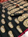 Black color soft banarasi silk saree with meenakari design & golden zari weaving work