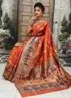 Orange color Soft & Pure Banarasi silk saree With Rich Weaving Pallu