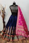 Navy blue and pink color banarasi brocade lehenga with banarasi dupatta