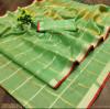 Pista green color kota doriya silk saree with checks pattern