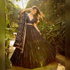 Navy blue color phantom silk lehenga with heavy embroidery and sequence work