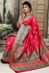 Gajari color Soft & Pure Banarasi silk saree With Rich Weaving Pallu