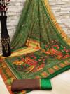 Green color soft cotton kalamkari print saree with mirror work