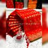 Red color banarasi jacquard silk saree with beautiful tassel work