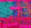 Firoji color khadi silk saree with kalamkari print