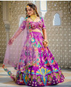 Multi color mulberry silk lehenga with heavy sequence embroidery work