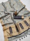 Gray color matalic linen saree with zari weaving border & gorgeous pallu