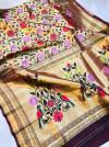 Multi color pure kanchipuram silk saree with zari weaving work