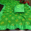Parrot green color georgette bandhani saree with border work