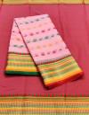 Pink color drape kota doriya saree with jacquard border & thread butti
