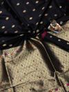 Black color lichi silk saree  with Minakari Work & Jari Butti