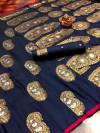 Navy blue color soft banarasi silk saree with meenakari design & golden zari weaving work