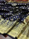 Navy blue color banarasi soft silk saree with gold zari woven border