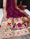 Magenta color banarasi soft silk paithani saree with zari border & exclusive zari pallu