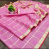Pink color kota doriya silk saree with checks pattern