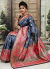 Gray color Soft & Pure Banarasi silk saree With Rich Weaving Pallu
