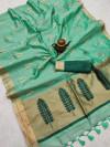 Sea green color matalic linen saree with zari weaving border & gorgeous pallu