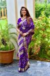 Violet color pure bandhej silk saree with zari weaving border