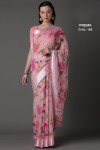 Baby pink color soft linen saree with floral print