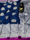 Navy blue color banarasi silk saree with jacquard weaving rich pallu