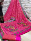 Pink color soft cotton kalamkari print saree with mirror work