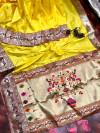 yellow color pure kanchipuram paithani silk saree with full stitching pallu & border