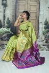 Green color soft paithani silk saree with weaving rich pallu