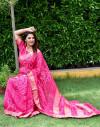 Rani pink color pure bandhej silk saree with zari weaving border