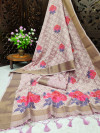 Baby pink color pure linen weaving saree with zari woven border & pallu
