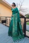 Rama green color pure tussar silk saree with zari border & pallu