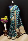 Blue color Soft Banarasi silk weaving work saree