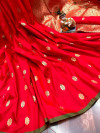 Red color lichi silk saree  with Minakari Work & Jari Butti