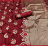 Maroon color lichi silk saree with zari weaving work & extra ordinary design