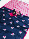Navy blue color lichi silk saree wit silver zari weaving work