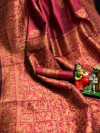 Pink color pure bhagalpuri silk saree with attractive thread work
