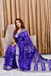 Royal blue color pure bandhej silk saree with zari weaving border