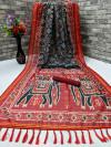 Black color soft linen cotton saree with patola digital print