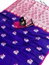 Purple color lichi silk saree wit silver zari weaving work