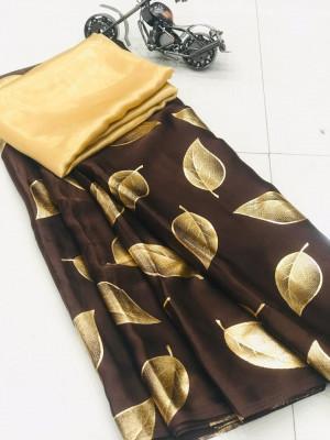 Brown color pure Satin silk saree