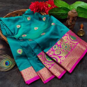 Rama green color soft lichi silk saree with rich pallu