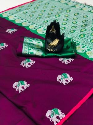 Magenta color lichi silk saree wit silver zari weaving work