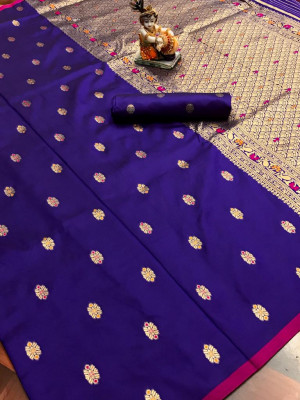 purple color lichi silk saree  with Minakari Work & Jari Butti