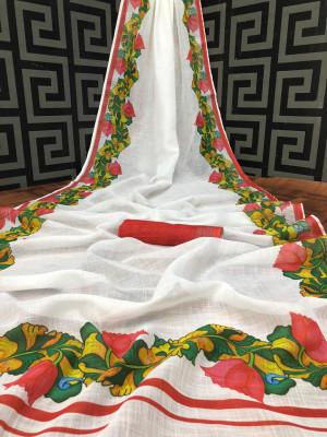 White color linen saree with kalamkari pallu & silver zari border