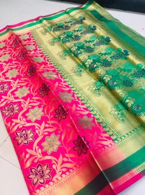 Pink color banarasi patola saree with contrast zari weaving pallu