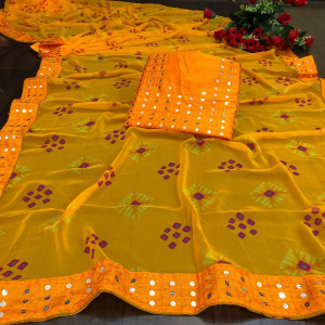 Yellow color georgette bandhani saree with border work